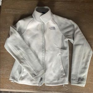 White and gray North Face Fleece Jacket